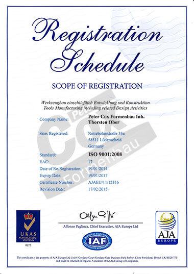 Peter Cox Formenbau Scope of Registration ISO 9001:2008