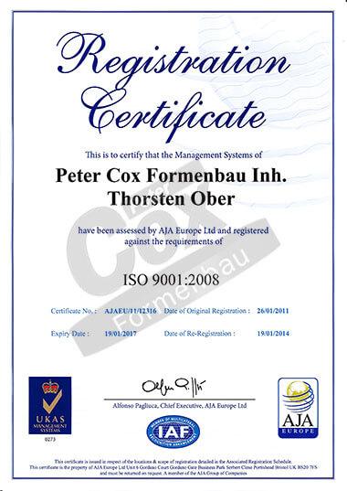 Peter Cox Formenbau ISO 9001:2008